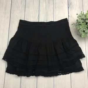 Free People Summer's Night Pintuck Lace Mini Skirt